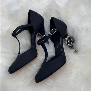 NEW Chanel Black Leather T Strap Heels